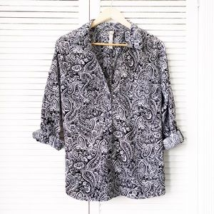 NY Collection Paisley Button Down NWOT